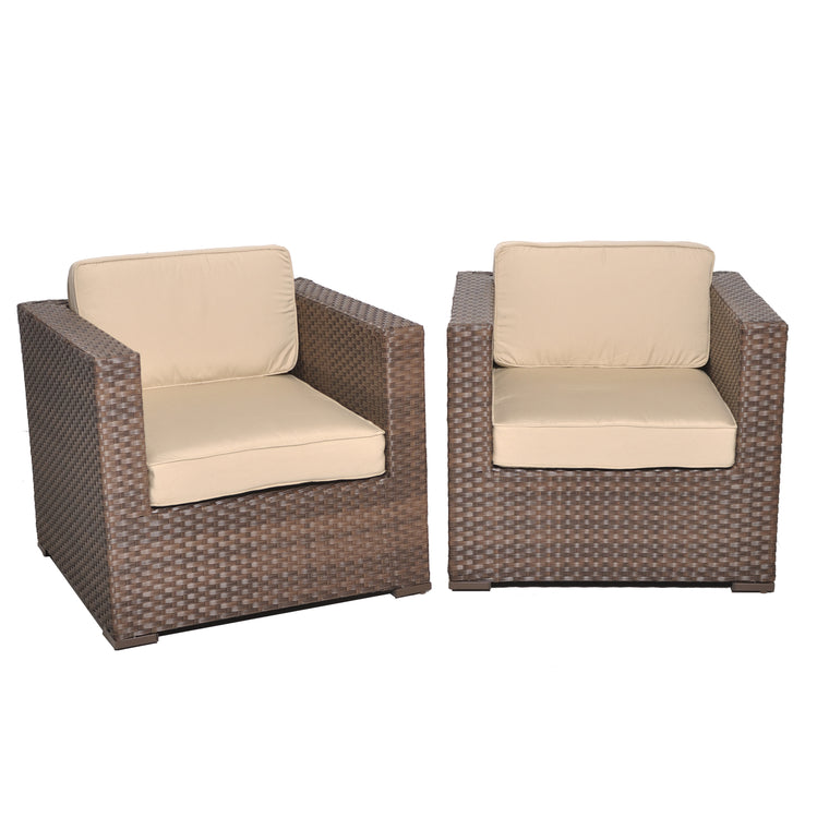 Bellagio Deluxe 2 Piece Wicker Patio Armchair Set , International Home Miami- grayburd