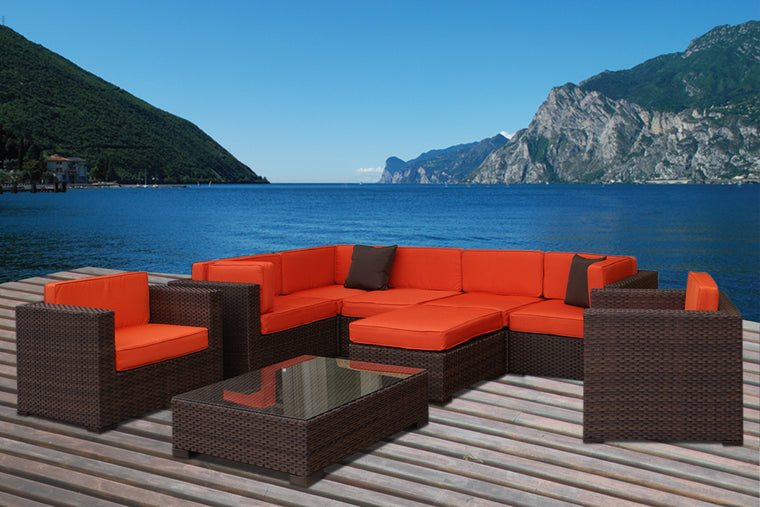 Southampton 9 Piece Wicker Patio Sectional Set with Orange Cushions , International Home Miami- grayburd