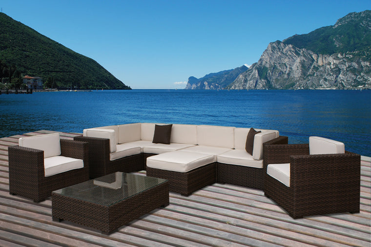 Southampton 9 Piece Wicker Patio Sectional Set with Off , International Home Miami- grayburd