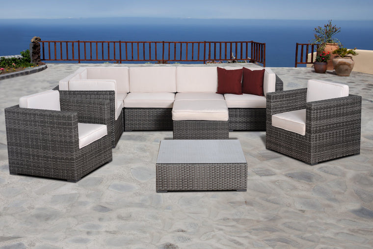 Southampton 9 pc Grey Wicker Seating Set with Off White Cushions , International Home Miami- grayburd