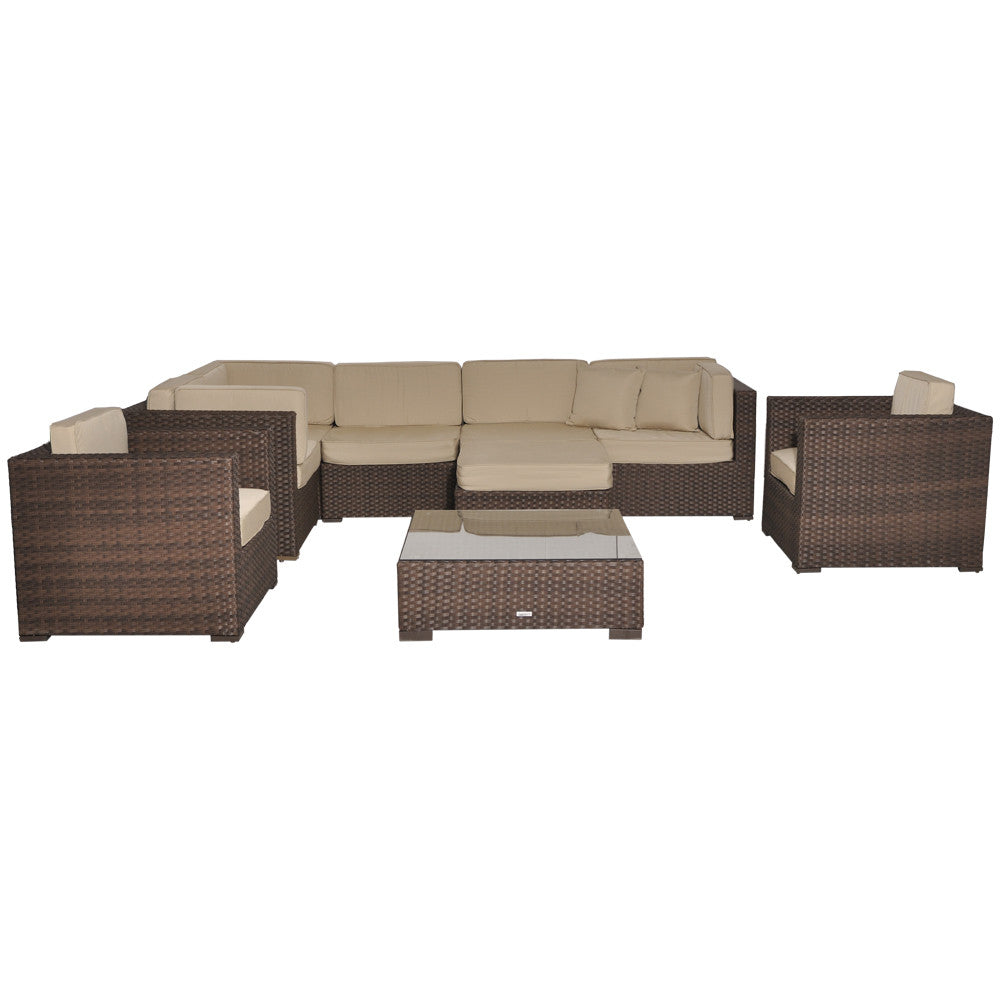 Southampton Deluxe 9 Piece Wicker Patio Sectional Set with SUNBRELLA Antique Beige Cushions , International Home Miami- grayburd