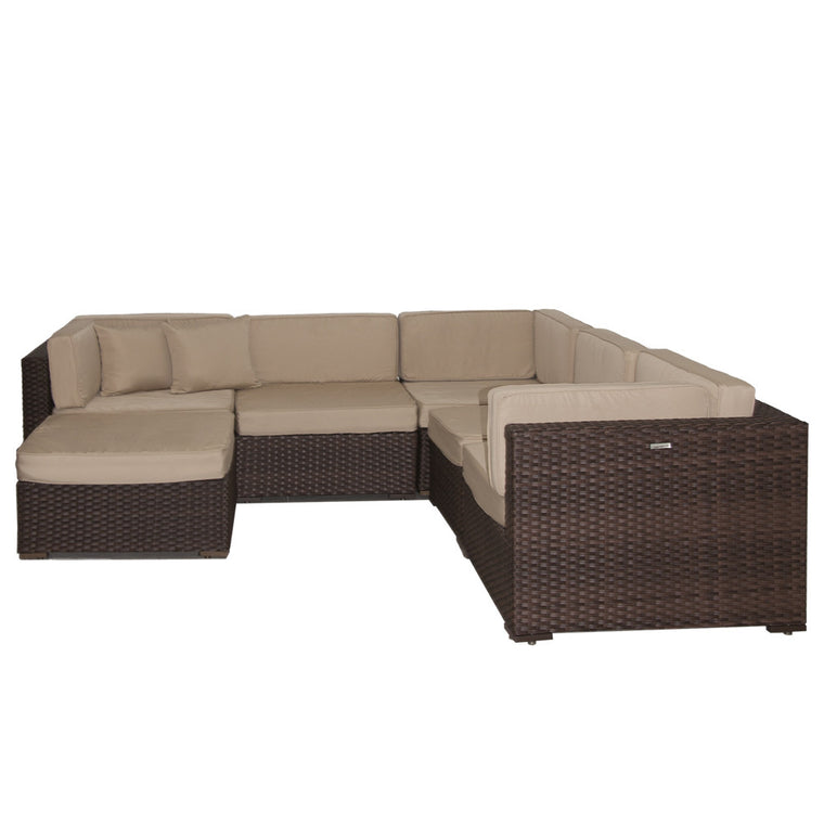 Bellagio Deluxe 6 Piece Wicker Patio Sectional Set , International Home Miami- grayburd