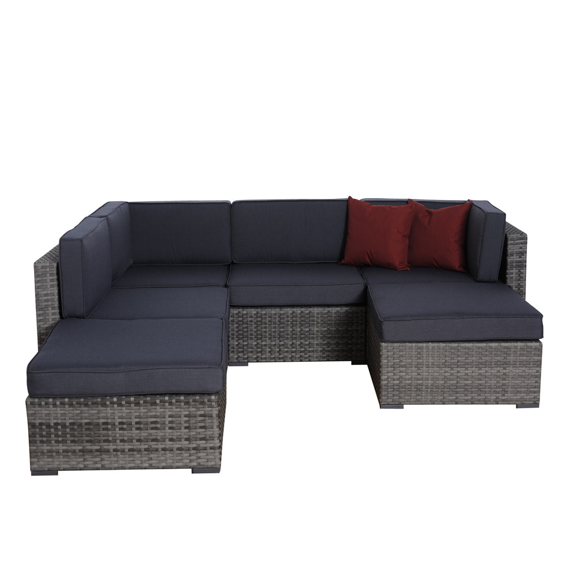 Clermont 6 pc Grey Wicker Seating Set with Grey Cushions , International Home Miami- grayburd