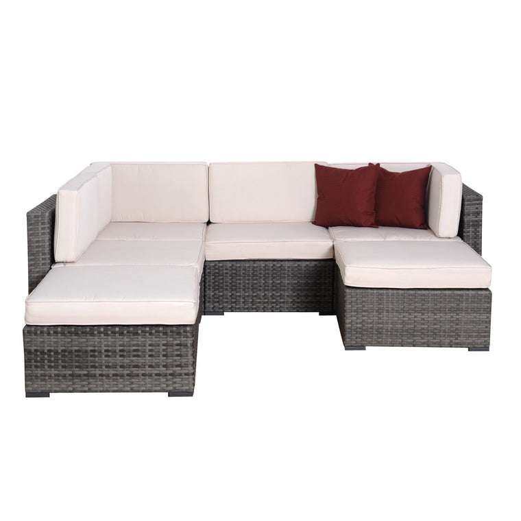 Clermont 6 pc Grey Wicker Seating Set , International Home Miami- grayburd