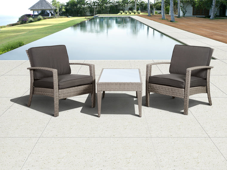 Florida Deluxe Grey 3 Piece Wicker Patio Conversation Set with Grey Cushions , International Home Miami- grayburd