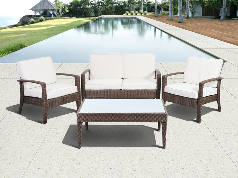Grand New Liberty Deluxe Square 9 Piece Patio Dining Set Brown with Off-White Cushions , International Home Miami- grayburd
