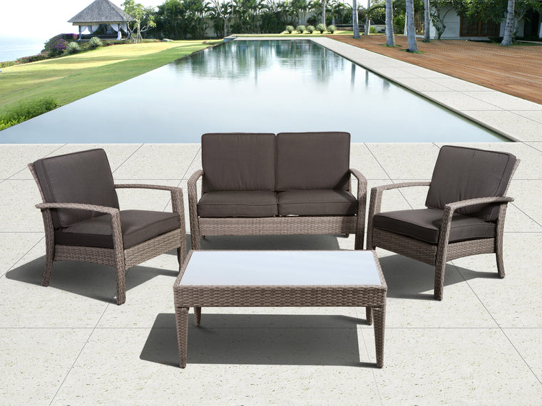 Florida Deluxe Grey 4 Piece Wicker Patio Conversation Set with Grey Cushions , International Home Miami- grayburd