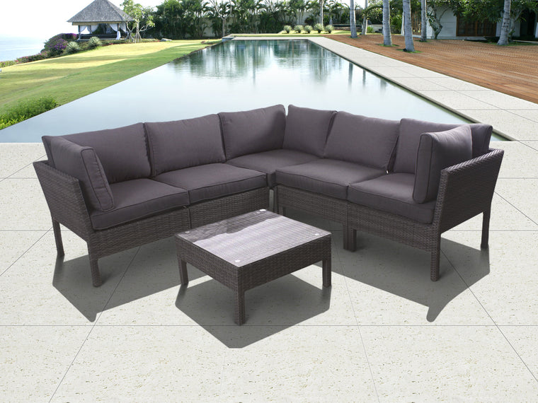Infinity 6 piece Wicker Patio Seating Set Grey with Grey Cushions , International Home Miami- grayburd