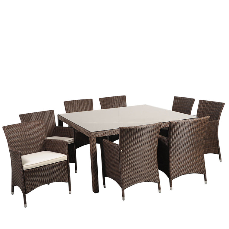 Grand New Liberty Deluxe Square 9 Piece Patio Dining Set Brown , International Home Miami- grayburd
