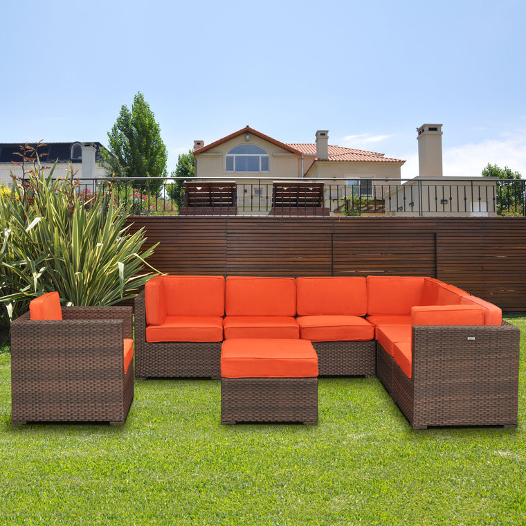 Marseille 8 Piece Wicker Patio Sectional Set with Orange Cushions , International Home Miami- grayburd