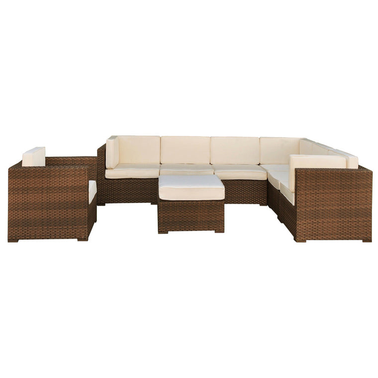Marseille 8 Piece Wicker Patio Sectional Set , International Home Miami- grayburd