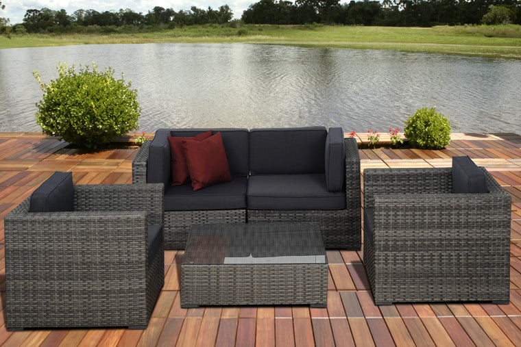 Metz 5 pc Grey Wicker Seating Set with Grey Cushions , International Home Miami- grayburd
