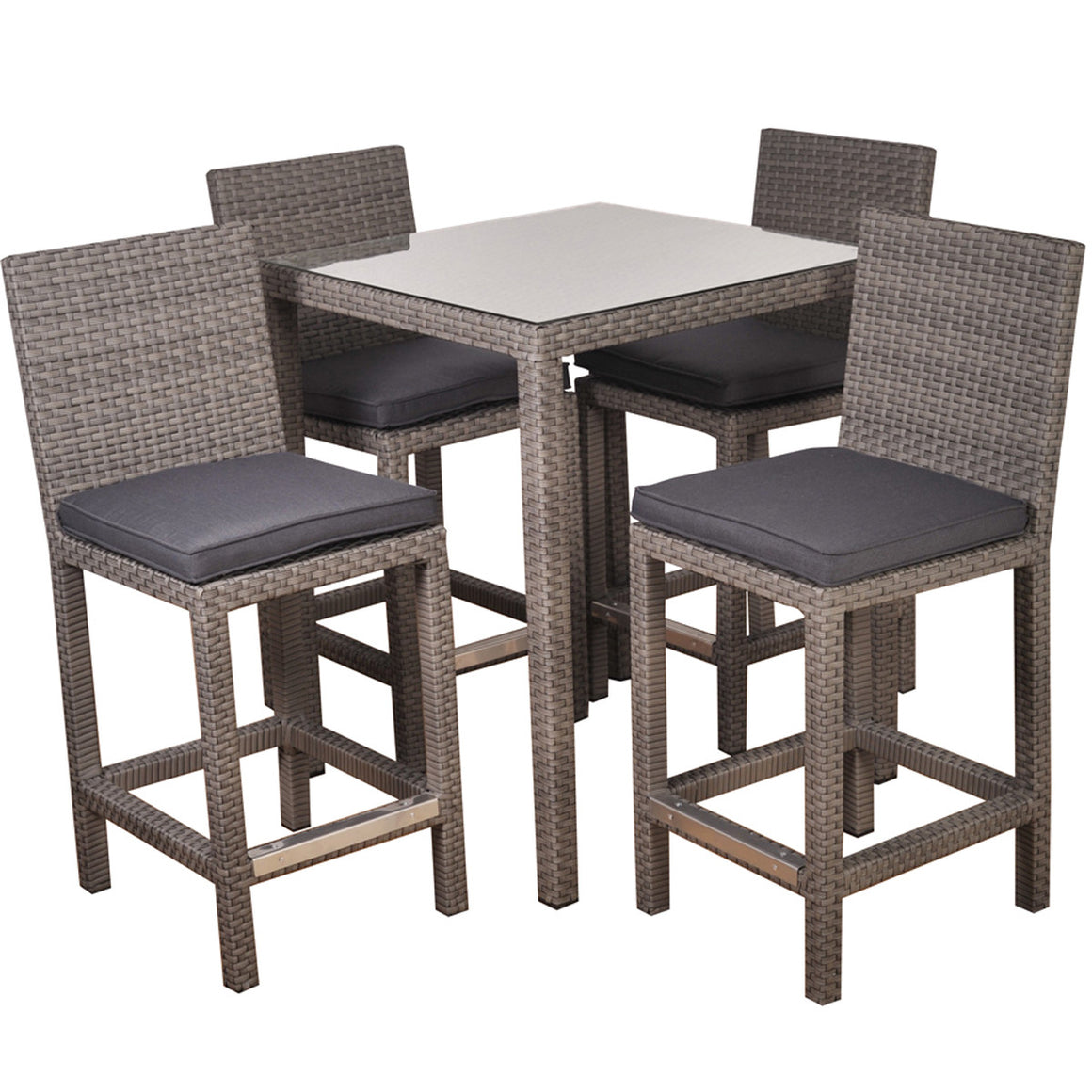 Monza Square 5 piece Patio Bar Set Grey with Grey Cushions , International Home Miami- grayburd