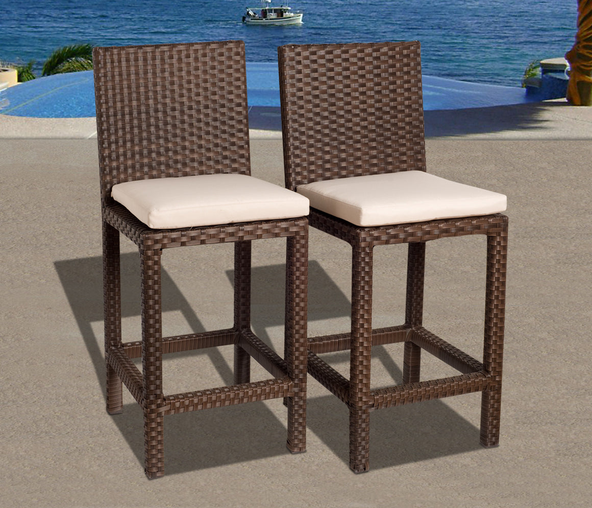 Monza 5 Piece Wicker Square Patio Bar Set with Off , International Home Miami- grayburd