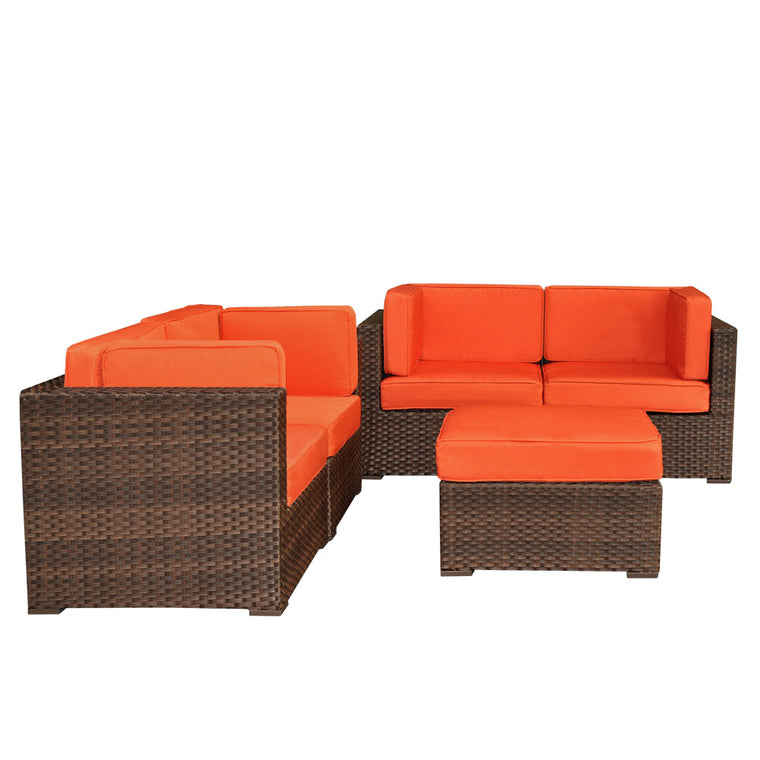 Nice 5 Piece Wicker Patio Sectional Set , International Home Miami- grayburd