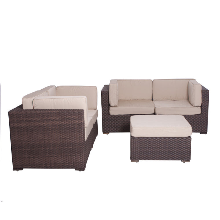 Nice Deluxe 5 Piece Wicker Patio Sectional Set , International Home Miami- grayburd