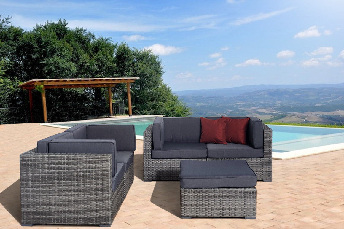 Nice 5 pc Grey Wicker Seating Set with Grey Cushions , International Home Miami- grayburd
