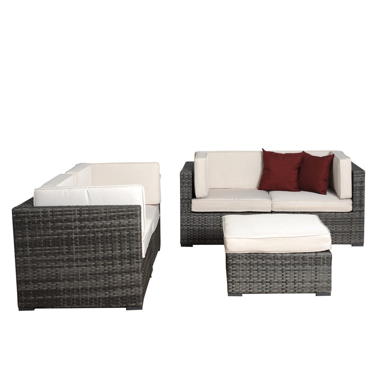 Nice 5 pc Grey Wicker Seating Set , International Home Miami- grayburd