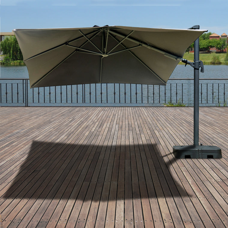 Atlantic Liberty Aluminum Square 10FT x 10FT Patio Umbrela with Base , International Home Miami- grayburd