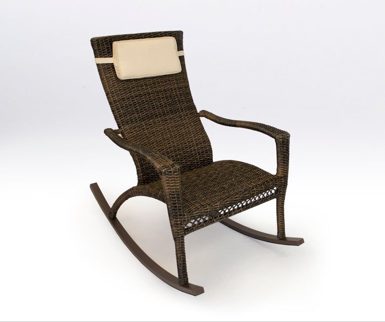 Maracay Rocking Chair with Head Cushion - Pecan Wicker