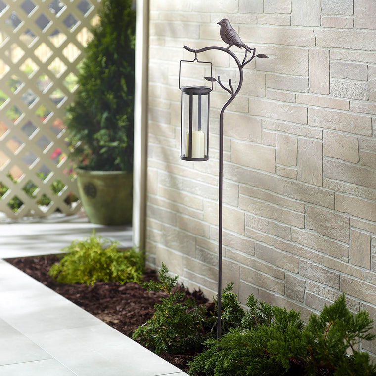 "Provence Bird Stake with Solar LED Candle Lantern (45"" H Stake with 8"" H Lantern)"