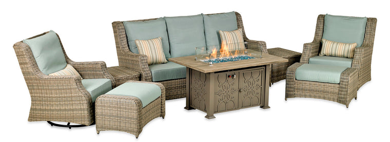 Rome Platinum 8-Piece Fire Deep Seating Group