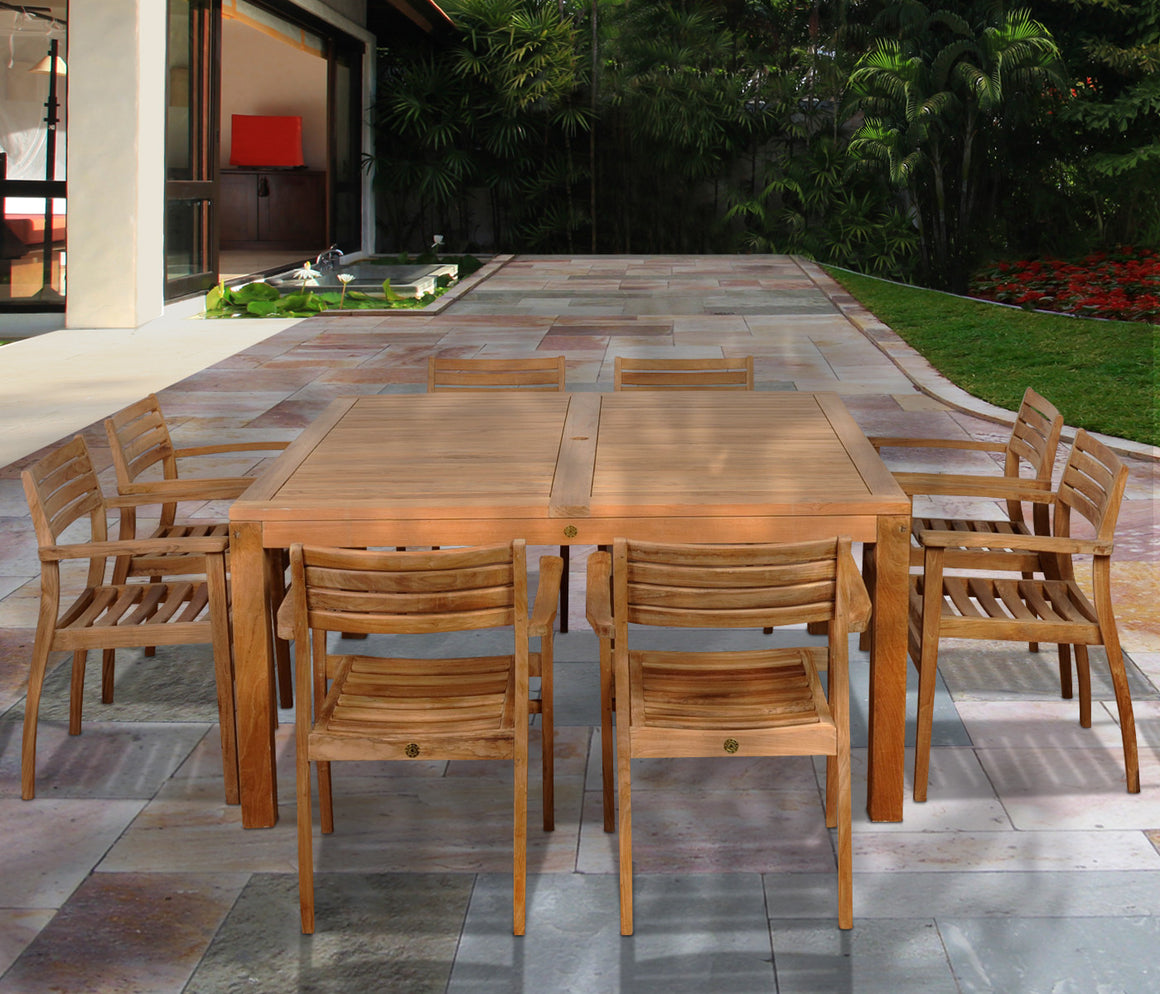 Victoria 9 Piece Teak Square Patio Dining Set , International Home Miami- grayburd