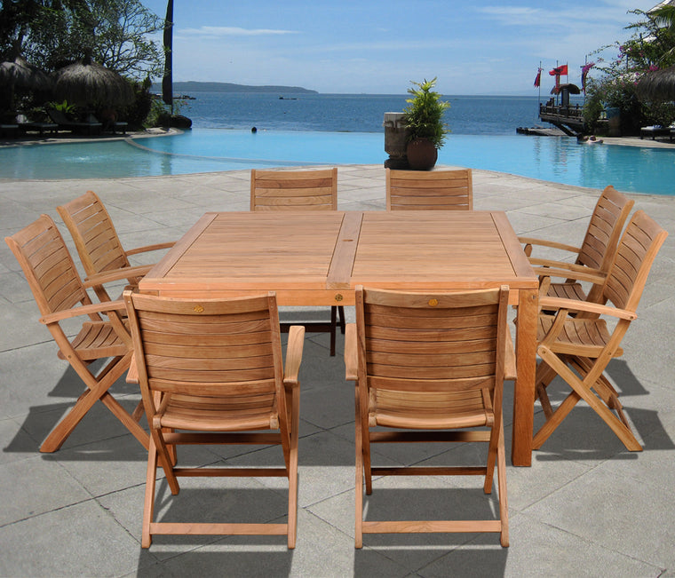 Boynton 9 Piece Teak Square Patio Dining Set , International Home Miami- grayburd