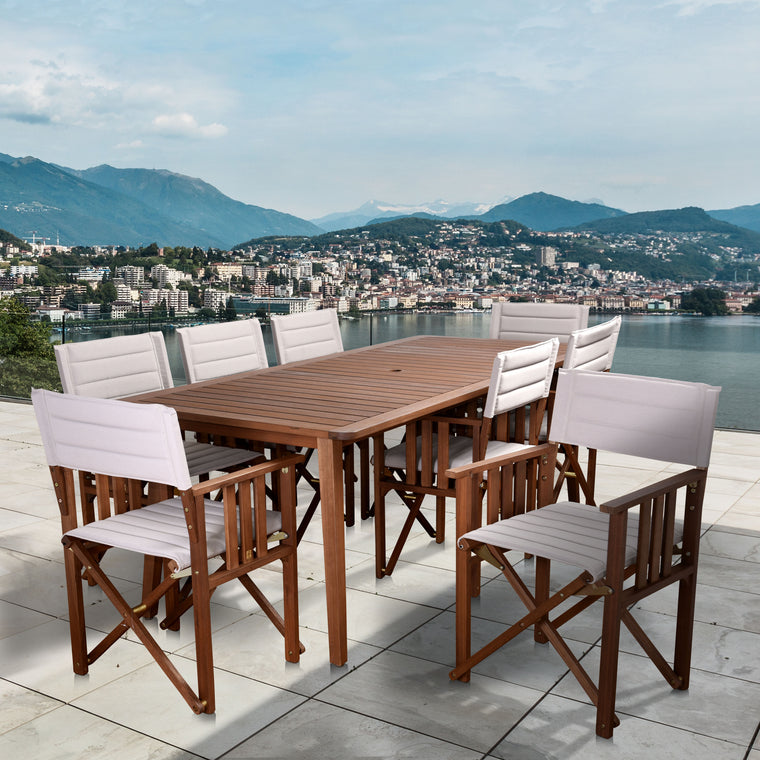 Amazonia Panama 9 Piece Patio Rectangular Dining Set , International Home Miami- grayburd