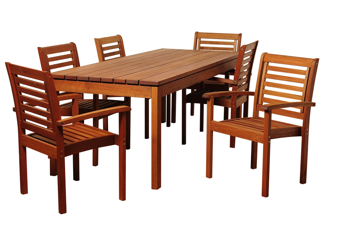 Emerson 7 Piece Eucalyptus Rectangular Patio Dining Set , International Home Miami- grayburd