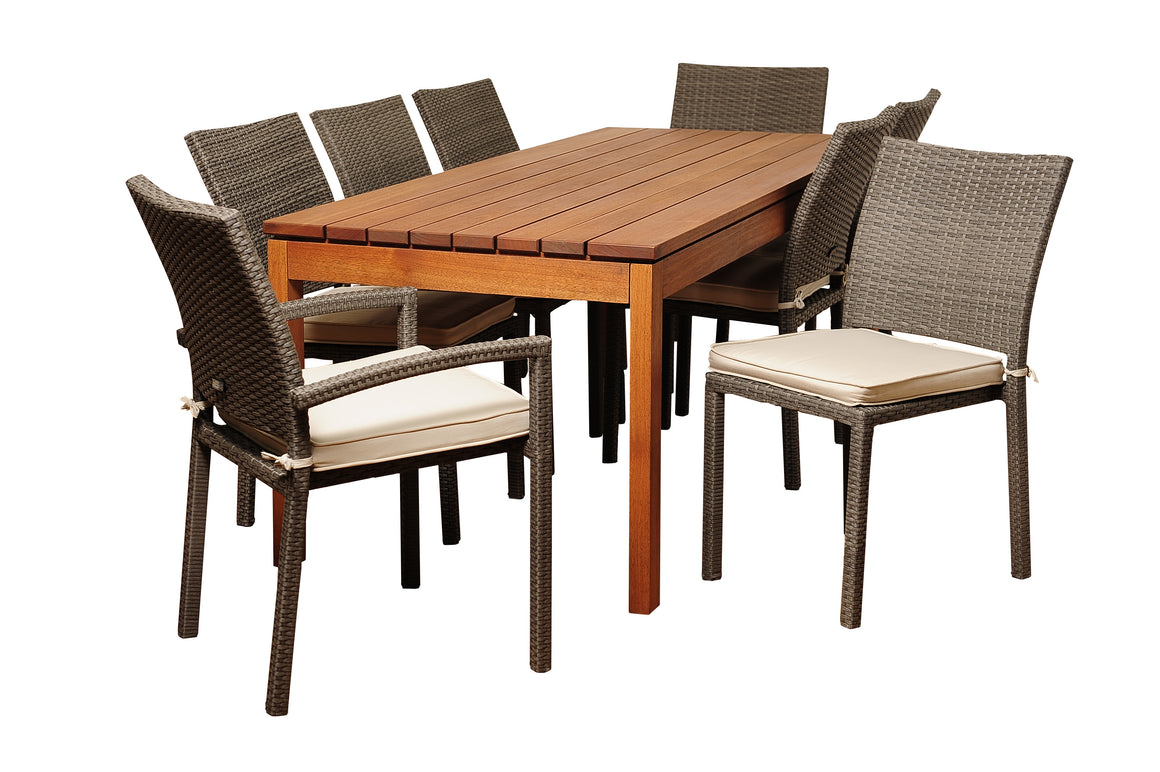 Marchello 9 Piece Eucalyptus/Wicker Rectangular Patio Dining Set , International Home Miami- grayburd