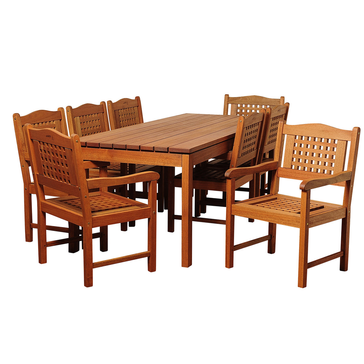 Harrison 9 Piece Eucalyptus Rectangular Patio Dining Set , International Home Miami- grayburd