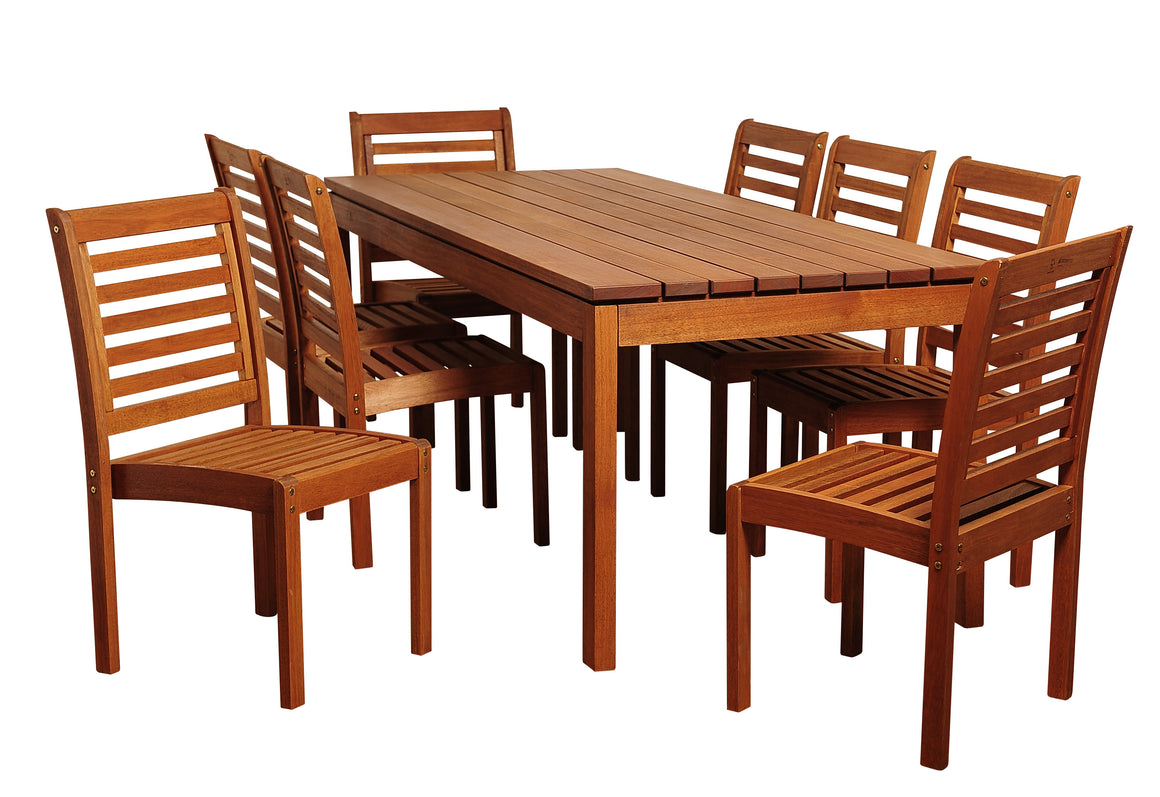 Elliot 9 Piece Eucalyptus Rectangular Patio Dining Set , International Home Miami- grayburd