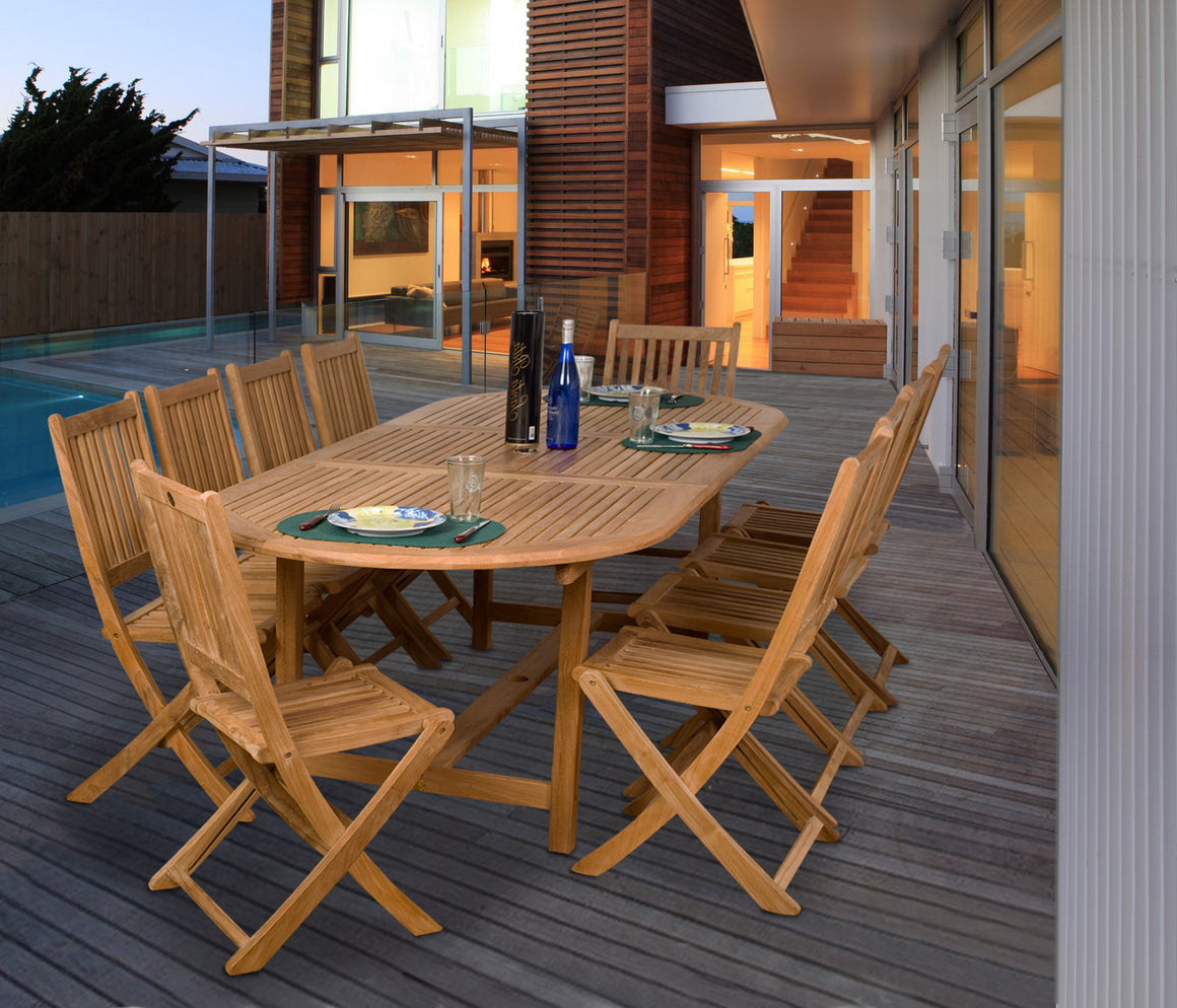 Bergen 11 Piece Teak Extendable Oval Patio Dining Set , International Home Miami- grayburd