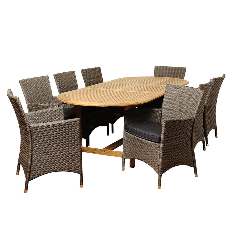 Rayford 9 Piece Teak/Wicker Extendable Oval Dining Set , International Home Miami- grayburd