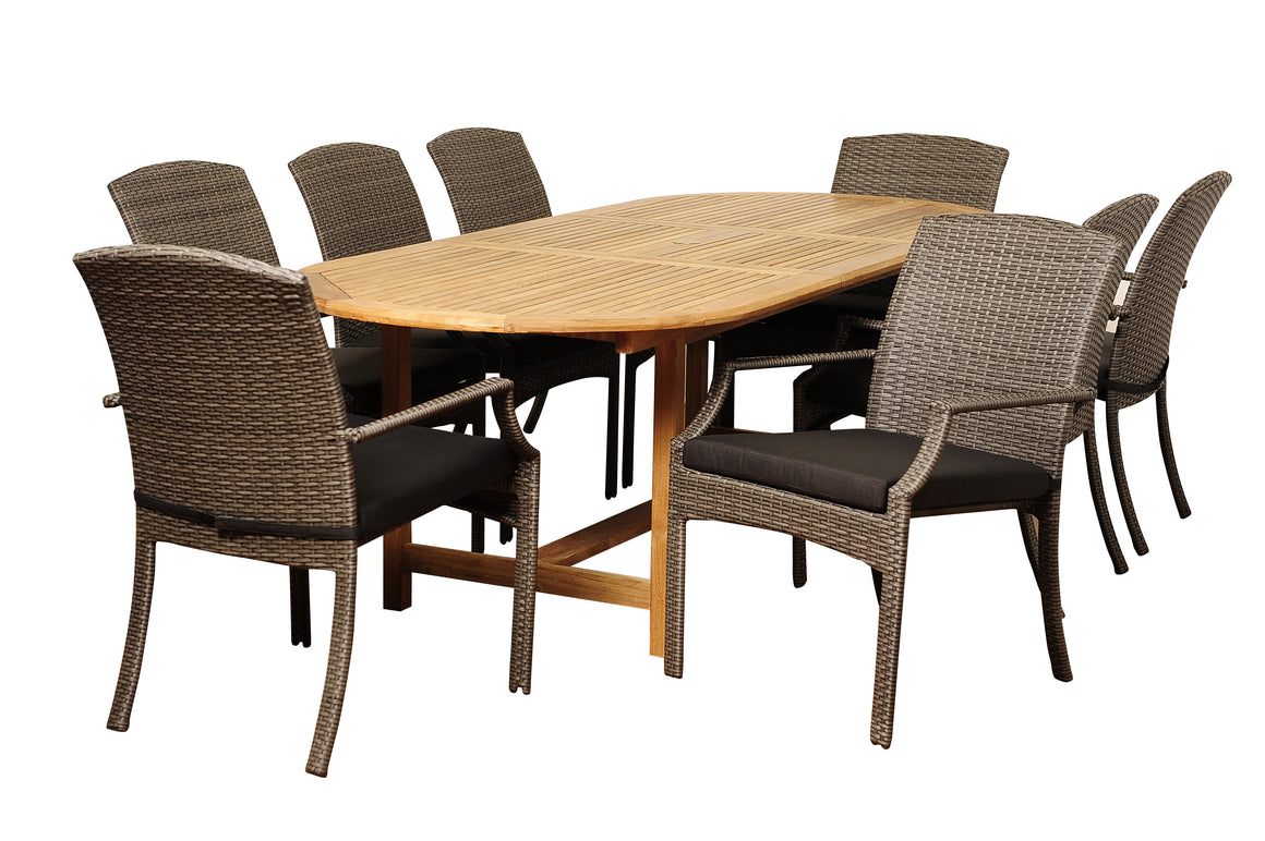 Sam 9 Piece Teak/Wicker Extendable Oval Dining Set with Grey Cushions , International Home Miami- grayburd
