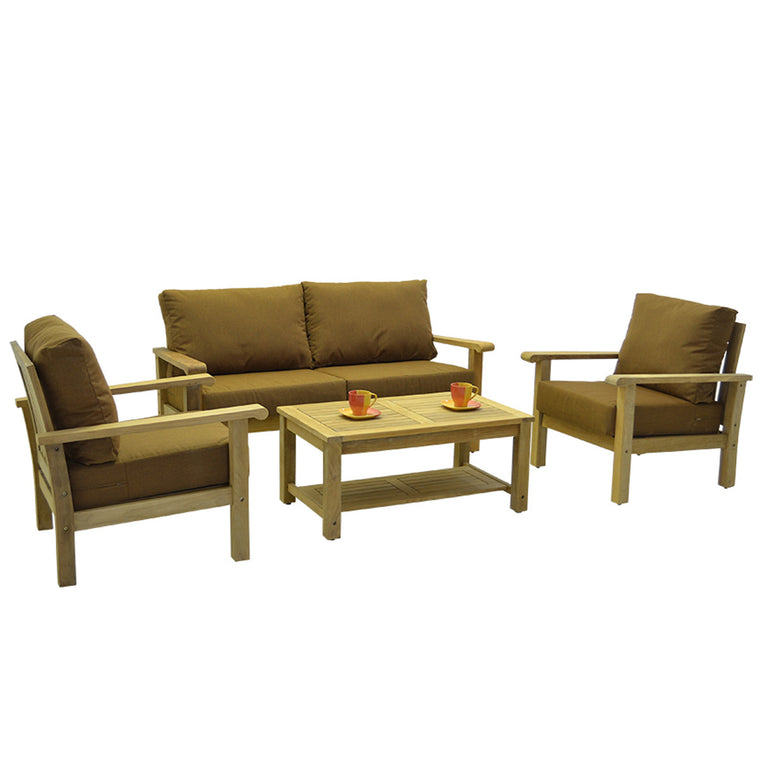 Gilli 4 Piece Teak Conversation Set with Sunbrella Cushions , International Home Miami- grayburd