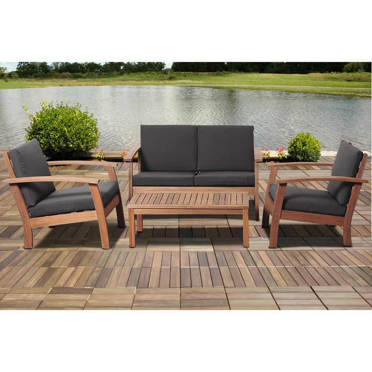 Murano 4 Piece Eucalyptus Patio Conversation Set with Black Cushions , International Home Miami- grayburd