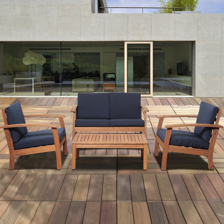 Murano 4 Piece Eucalyptus Patio Conversation Set with Blue Cushions , International Home Miami- grayburd