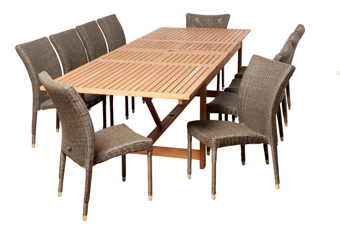 Weston 11 Piece Eucalyptus/Wicker Extendable Rectangular Patio Dining Set , International Home Miami- grayburd