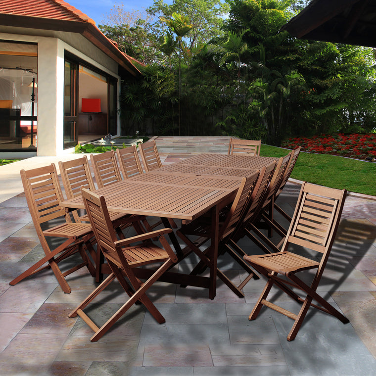 Brandon 13 Piece Eucalyptus Extendable Rectangular Patio Dining Set , International Home Miami- grayburd