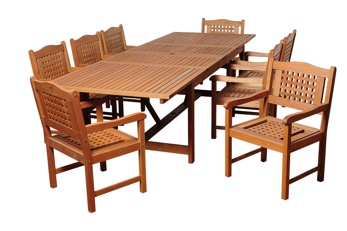 Deangelo 11 Piece Eucalyptus Extendable Rectangular Patio Dining Set , International Home Miami- grayburd
