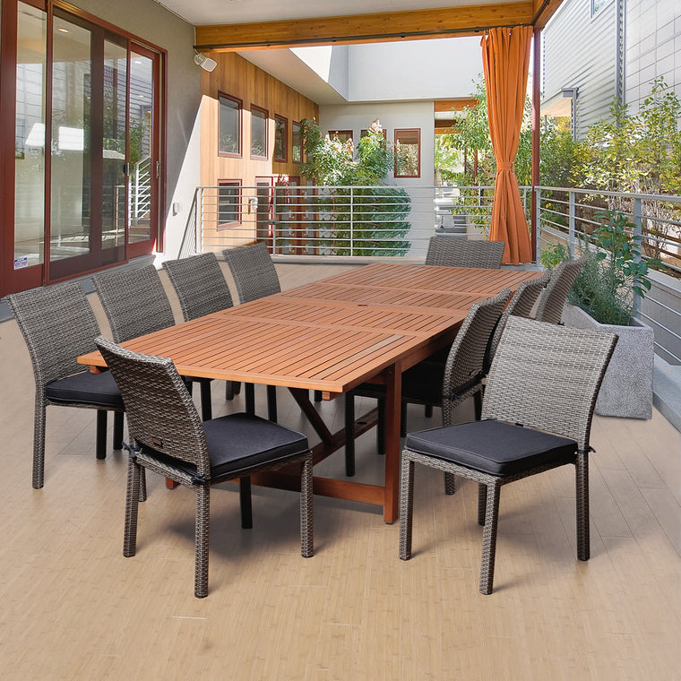 Angelo 11 Piece Eucalyptus/Wicker Extendable Rectangular Patio Dining Set , International Home Miami- grayburd