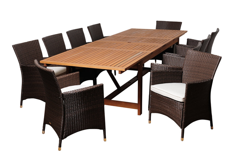 August 11 Piece Eucalyptus/Wicker Extendable Rectangular Patio Dining Set , International Home Miami- grayburd