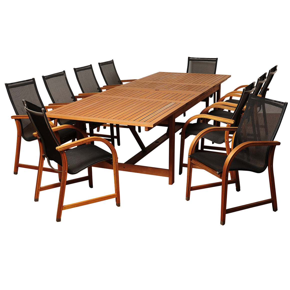 Damon 11 Piece Eucalyptus Extendable Rectangular Patio Dining Set , International Home Miami- grayburd