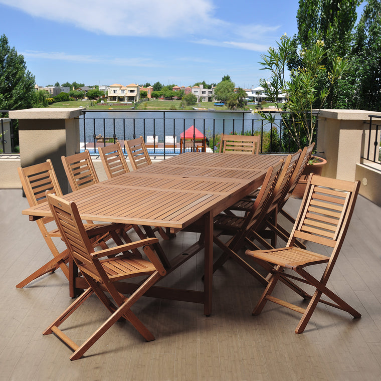 Brandon 11 Piece Eucalyptus Extendable Rectangular Patio Dining Set , International Home Miami- grayburd