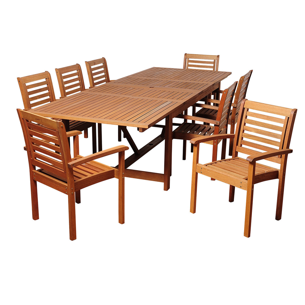 Brooks 9 Piece Eucalyptus Extendable Rectangular Patio Dining Set , International Home Miami- grayburd