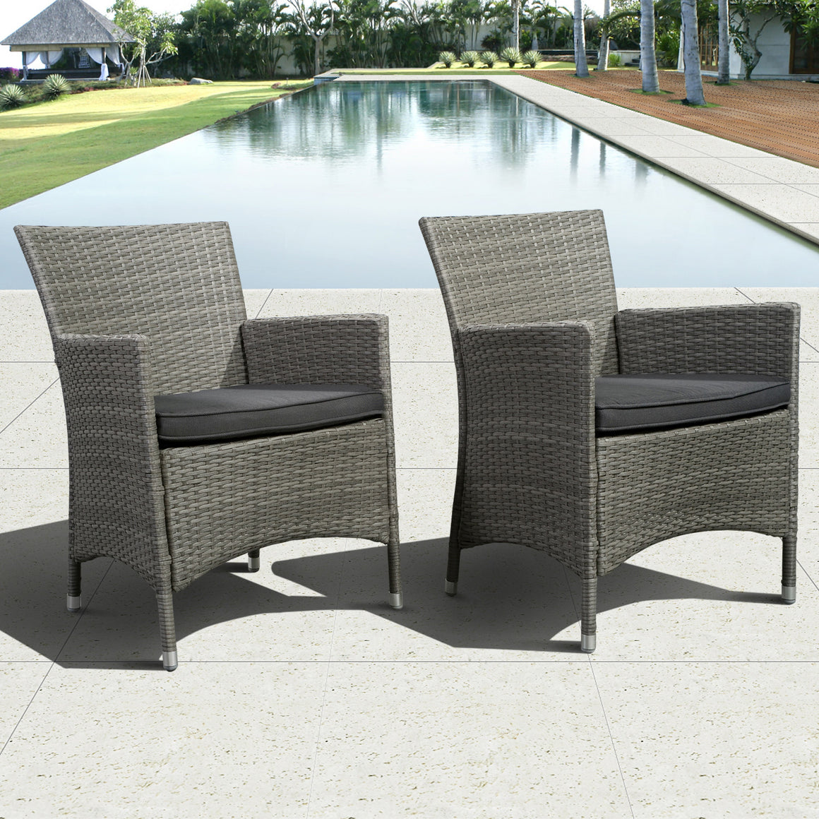 Norris 7 Piece Teak/Wicker Rectangular Dining Set with Grey Cushions , International Home Miami- grayburd