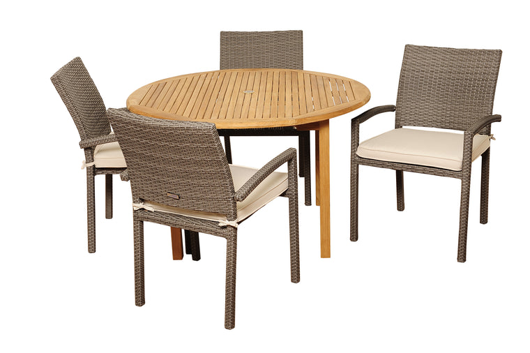 Barry 5 Piece Teak/Wicker Round Patio Dining Set , International Home Miami- grayburd