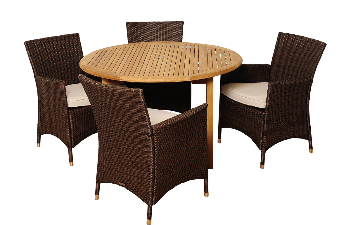 Benjamin 5 Piece Teak/Wicker Round Patio Dining Set with Off , International Home Miami- grayburd